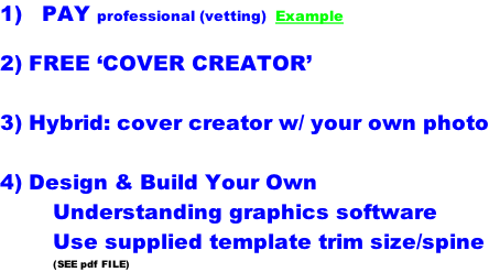 1)   PAY professional (vetting)  Example  2) FREE 'COVER CREATOR'  3) Hybrid: cover creator w/ your own photo  4) Design & Build Your Own Understanding graphics software Use supplied template trim size/spine (SEE pdf FILE)
